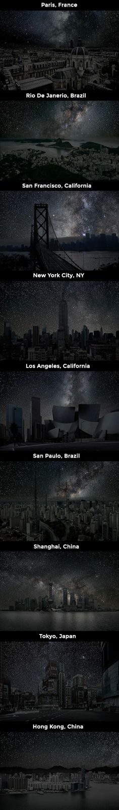 What the Night Sky Would Look Like in 9 Big Cities if There Was No Light Pollution