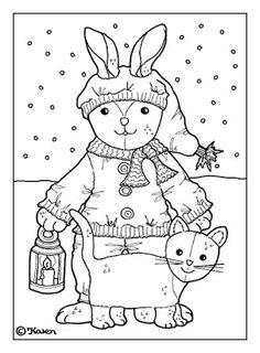 Karens Kravlenisser. Cut-outs and Colouring Pages. : Christmas Bear and Doll Postcards to Colour. Jule bamse og dukke postkort til at farvelægge.