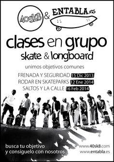 Clases en grupo de skate y longboard por 40sk8 y entabla http://www.40sk8.com/40sk8-en-colaboracion-con-entabla-presenta-clases-en-grupo-de-skate-y-longboard/
