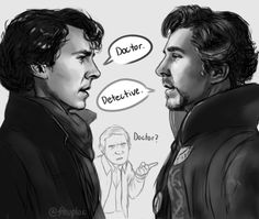 Sherlock and Doctor Strange face to face!D I'm really bummed about the last episode of Sherlock -the whole season, in fact. Sherlock Holmes Bbc, Sherlock Fandom, Fan Art Sherlock, Sherlock Cartoon, Jim Moriarty, Sherlock Quotes, Sherlock Comic, Sherlock Poster, Funny Sherlock