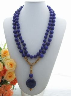 Stunning! 2Strds Lapis Jade&Lapis Pendant Necklace #Handmade #Pendant
