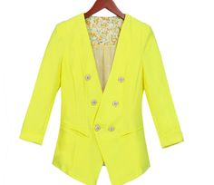2014 Summer Trends Women's High Waist Button Decorated Suit Bright Color Stylish Suit Coat