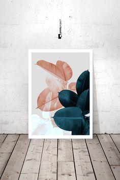 Planta impresiones, arte de pared para imprimir, arte botánico, impresión de hoja Tropical, descarga impresión Digital, arte imprimible descarga inmediata, impresión de hojas