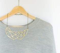 golden brass geometric necklace