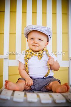 Vintage Yellow and Grey Bowtie and Suspender Set, Bowtie and Suspender set for newborn, toddler and boys. $35.00, via Etsy.