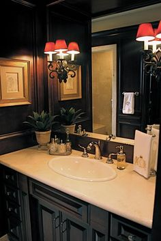 dark walls, sconces and a pretty faucet Dark Bathrooms, Dream Bathrooms, Beautiful Bathrooms, Bathroom Red, Bathroom Ideas, Interior Design Inspiration, Home Decor Inspiration, Kitchen Cabinets In Bathroom, Home Decor Furniture