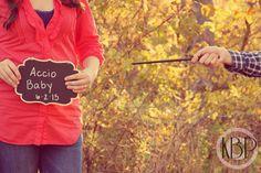Pregnancy Announcements and maternity.  ©KB Photography 2014 www.kbphotoinc.smugmug.com   Couple, love, baby, pregnancy, announcement, reading, Harry Potter, wand, pose.
