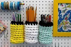 #Crochet pegboard storage pots | lazy daisy jones