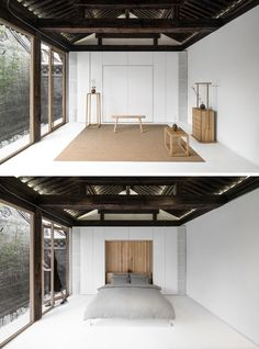 This open and minimalist room can be transformed into a bedroom, via a hidden bed in the wall.
