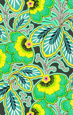 Amy Buttler floral green yellow
