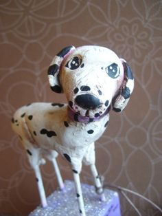 custom folk art dog sculpture