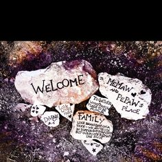Painting on rocks.  Great idea for family and friends to add to the Rock Garden with their message or memories