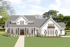 Plan 3 Bed Modern Farmhouse Plan With Outdoor Living Room And Two Bonus Spaces New House Plans, Dream House Plans, House Floor Plans, Gable Roof Design, Modern Farmhouse Plans, Farmhouse Ideas, Metal Roof, Future House, Planer