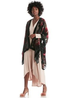 Multi  | Border floral print burnout velvet kimono  | Free Shipping on Orders $50+