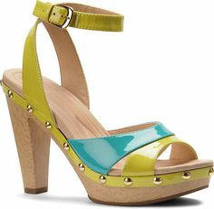 Isola Women's Madalen Yellow and Aqua Patent Leather Platform Sandal 6311015 | eBay