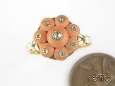 ANTIQUE ENGLISH 9K GOLD CORAL CABOCHON & ROSE CUT DIAMOND CLUSTER RING c1900s in Jewelry & Watches, Vintage & Antique Jewelry, Fine | eBay