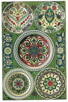 Persian Pottery - lovely green and red, really interesting.