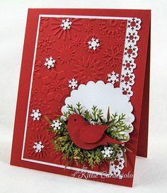 Cardinal, snowflake embossing folder
