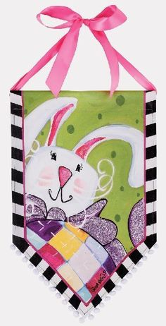 Easter Bunny with a Bow by LisA fRosT #banner #bunny #easter #easter-bunny #lisa-frost #spring