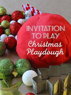 Engage your children with this festive invitation to play using peppermint scented playdough and a collection of craft materials.