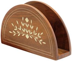 """Floral Promise – 6.5"""" Handmade Wooden #Napkin Holder – Decorative Floral Inlay Art – Table top / Kitchen Accessories"""