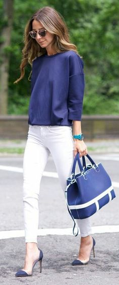 14 Simple & Trendy Outfits for Spring and Summer 2019 Navy And White Casual Chic Outfit by Something Navy wonderful, i prefer your image. Chic Office Outfit, Casual Chic Outfits, Business Casual Outfits, Stylish Office, Office Chic, Professional Work Outfits, Office Outfits Women Casual, Summer Business Attire, Fresh Outfits