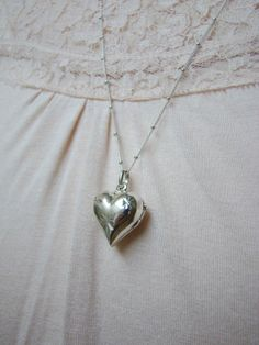 Romantic Jewelry: Locket Necklace Sterling Silver Long Locket Necklace by ShinyLittleBlessings, $39.00