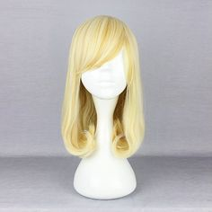 Harajuku High Temperature Heat Friendly Synthetic Costume Cosplay Wig Blonde Side Bang Wavy