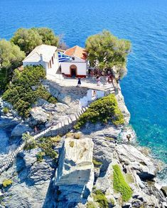 """Enjoying the """"Mamma Mia cliff"""" in Skopelos ❤ Skopelos Greece, Skiathos, Mykonos Greece, Crete Greece, Paros, Athens Greece, Places Around The World, Around The Worlds, Places To Travel"""