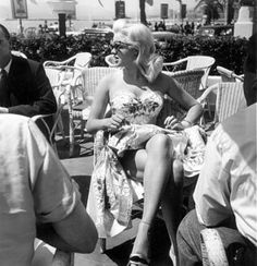 Jayne Mansfield at the Cannes Film Festival in 1958 #cannes