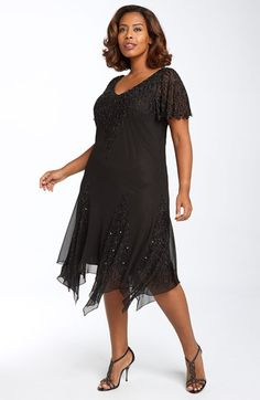 Shop 1920s Plus Size Dresses and Costumes: J Kara Beaded Godet Dress in Black (Plus Size) $146.30