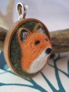 Needle Felted Fox Pendant