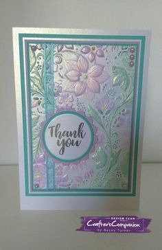 A5 card using Crafter's Companion Country Garden 3D embossing folder. Designed by Becky Turner #crafterscompanion