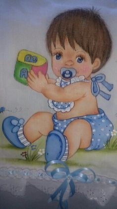 Bebe by Maria de Jesus Baby Painting, Fabric Painting, Brother Innovis, Baby Puffs, Baby Clip Art, Cute Baby Dolls, Baby Shawer, Baby Drawing, Doll Quilt