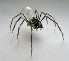 Junkbot clockwork spider with lightbulb
