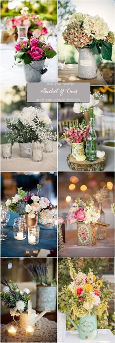 Rustic farm bucket tin-can and watering-can wedding centerpieces
