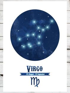 VIRGO Constellation Zodiac star sign Print