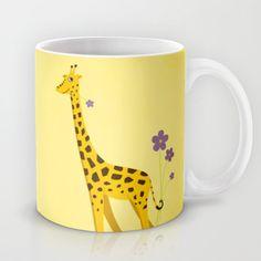 Yellow Funny Roller Skating #Giraffe #Mug