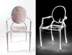Left: The Ghost of Scala, Philippe Starck. Right: Eureka, Piero Lissoni, Ghost chair, Design Philippe Starck. Lounge Design, Chair Design, Dyi, Barbie Go, Plastic Design, Philippe Starck, Italian Furniture, Hospitality Design, Furniture Companies
