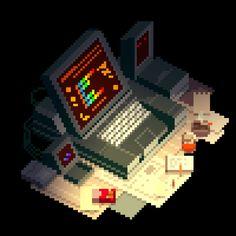 Cosimo Galluzzi's illustration and concept art portfolio Pixel Art Gif, How To Pixel Art, Pixel Art Games, Cyberpunk, Pix Art, 8 Bits, Horror Themes, Pixel Animation, Pixel Image