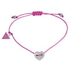 Guess Bright Pink Mini Heart Slip Knot Bracelet- at Debenhams.com