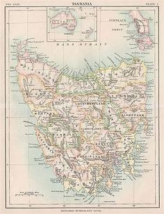 1888 Encyclopedia Britannica Map of Tasmania, Australia Vintage Wall Art, Vintage Walls, Australia Map, Antique Maps, Tasmania, Vintage World Maps, Capes, Rivers, Islands