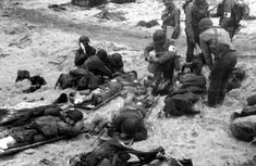Wounded soldiers Normandy Omaha Beach June 6 1944 D-Day