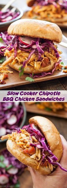 Slow Cooker Chipotle BBQ Chicken Sandwiches | Shredded chicken tossed in a homemade spicy-sweet barbecue sauce and served with honey lime coleslaw on top. A sandwich everyone is sure to love!