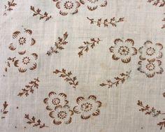 Textiles - Handkerchief - 1795-1805 a beautiful block printed linen handkerchief large enough to be worn as a neckerchief.- Angela