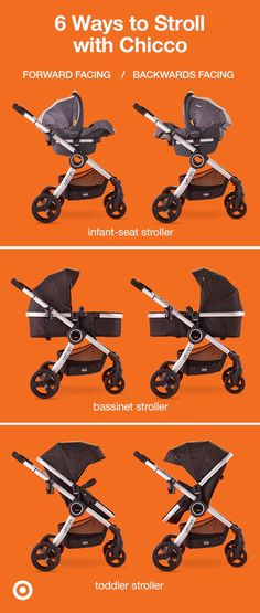 Sleek and stylish, the Chicco Urban 6-in-1 modular stroller grows with your baby through toddlerhood. The 6 modes allow Baby to ride in their infant car seat (not included), carriage or stroller, facing toward Mom and Dad, or facing out to explore the world. This stroller has a removable all-weather boot, expandable canopy, padded handle, large storage basket and a compact-fold frame with quick-release wheels. It's the perfect addition to your Target Baby registry and your on-the-go…