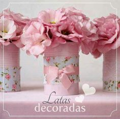 Cheap flower holder for a little girls tea party Tin Can Crafts, Diy And Crafts, Party Deco, Craft Projects, Projects To Try, Pot A Crayon, Ideas Para Fiestas, Deco Table, Paper Flowers
