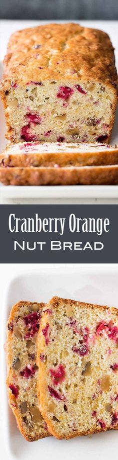 With chopped cranberries, walnuts, and orange zest. Perfect for the holidays. With chopped cranberries, walnuts, and orange zest. Perfect for the holidays. Cranberry Dessert, Cranberry Orange Bread, Cranberry Recipes, Holiday Recipes, Orange Zest, Cranberry Muffins, Cranberry Sauce, Nut Bread Recipe, Bread Recipes