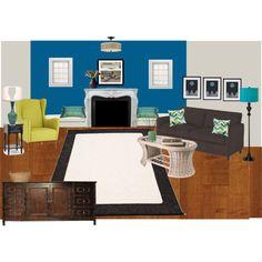 """Leslie's Living Room Bright Blue update"" by drury on Polyvore"