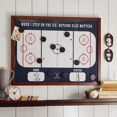 Shop hockey from Pottery Barn Teen. Our teen furniture, decor and accessories collections feature fun and stylish hockey. Create a unique and cool teen or dorm room. Hockey Crafts, Hockey Decor, Boys Hockey Bedroom, Hockey Girls, Hockey Nursery, Youth Hockey, Boy Room, Kids Room, Hockey Party